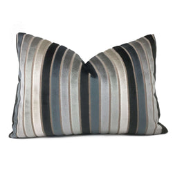 Robert Allen Cut Velvet Stripe Gray Cream Lumbar Pillow Cover