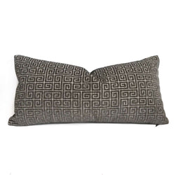 Robert Allen Dark Gray Plush Greek Keys Velvet Chenille Pillow Cover