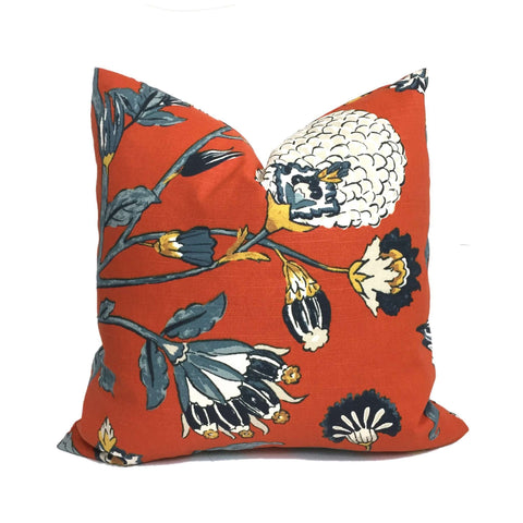 Robert Allen Dwell Studio Auretta Persimmon Orange Jacobean Floral Pillow Cover Cushion Pillow Case Euro Sham 16x16 18x18 20x20 22x22 24x24 26x26 28x28 Lumbar Pillow 12x18 12x20 12x24 14x20 16x26 by Aloriam