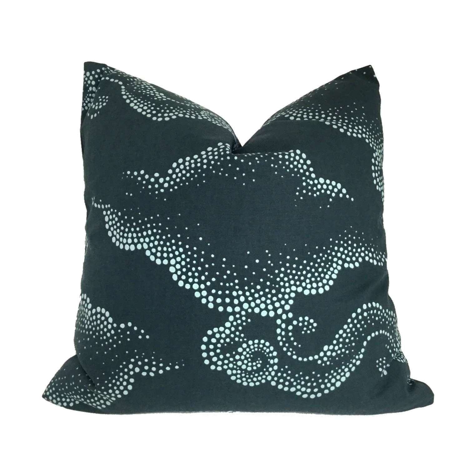 Robert Allen Dwell Studio Cloudburst Dark Navy Blue Asian Cloud Motif Pillow Cover Cushion Pillow Case Euro Sham 16x16 18x18 20x20 22x22 24x24 26x26 28x28 Lumbar Pillow 12x18 12x20 12x24 14x20 16x26 by Aloriam