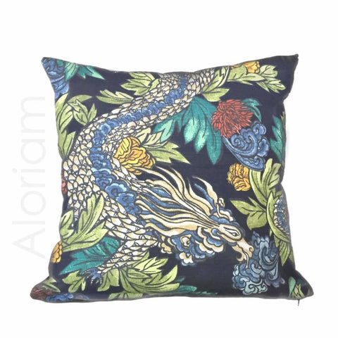 Robert Allen Dwell Studio Ming Dragon Chinoiserie Pillow Cover in Admiral Blue - Aloriam