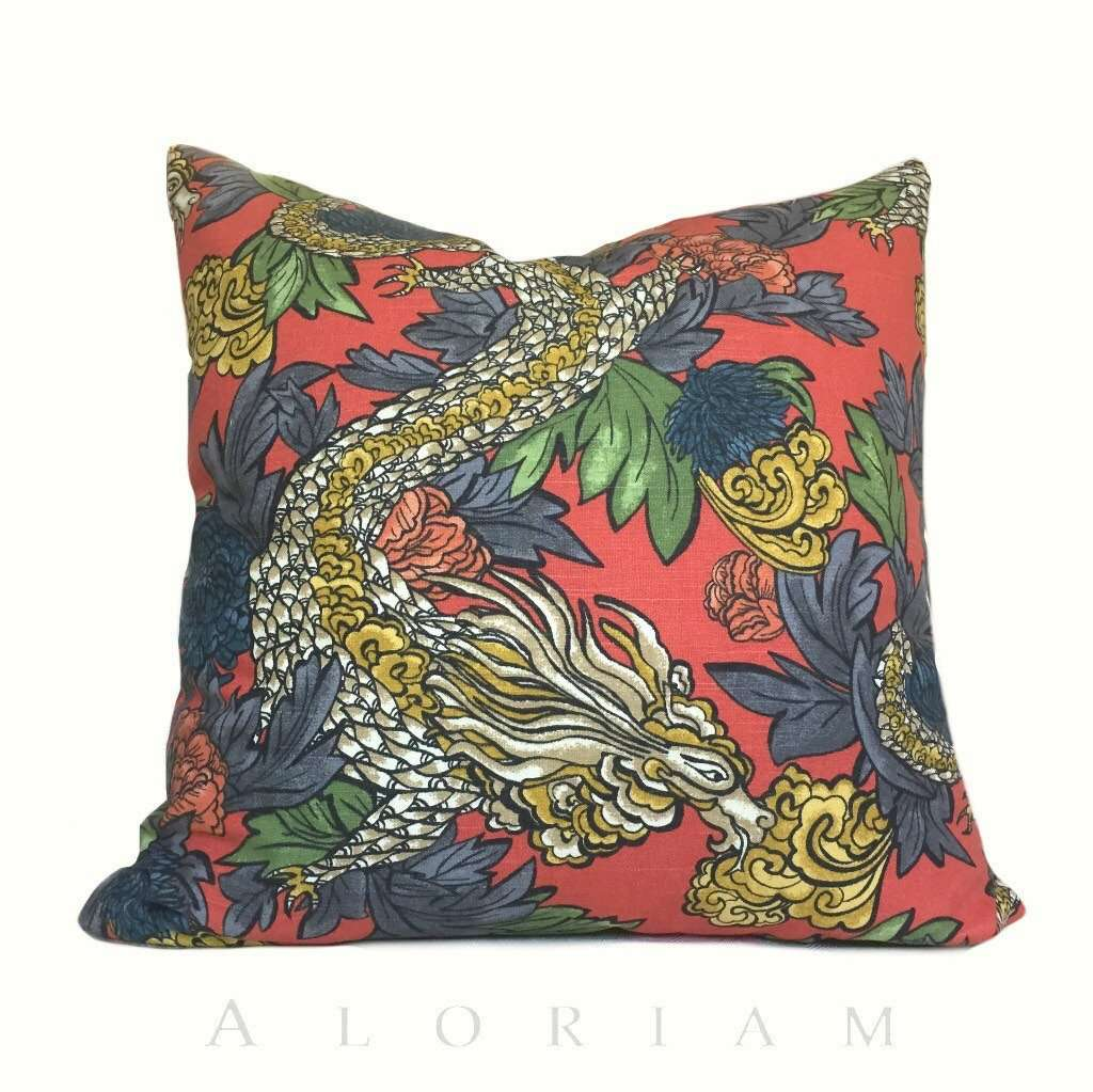 Robert Allen Dwell Studio Ming Dragon Persimmon Chinoiserie Pillow