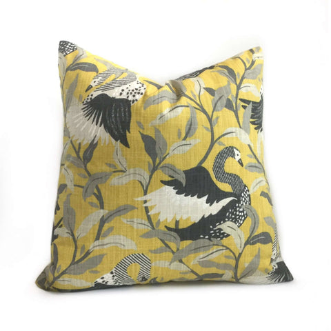 Robert Allen Dwell Studio Swanwood Saffron Yellow Gray Pillow Cover Cushion Pillow Case Euro Sham 16x16 18x18 20x20 22x22 24x24 26x26 28x28 Lumbar Pillow 12x18 12x20 12x24 14x20 16x26 by Aloriam