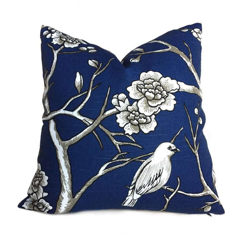 Robert Allen Dwell Studio Vintage Blossom Navy Blue White Pillow Cover by Aloriam