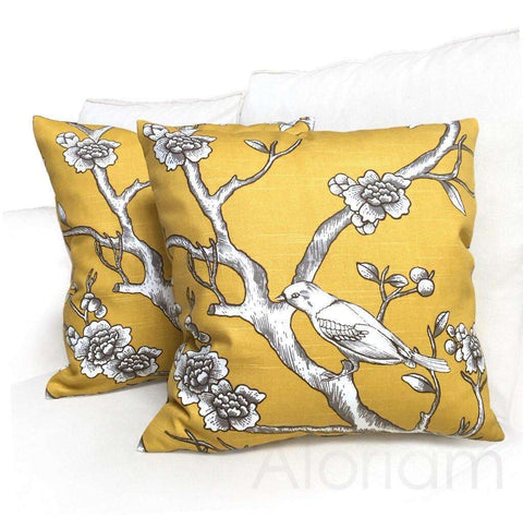 Robert Allen Dwell Studio Vintage Blossom Citrine Yellow Decorative Throw Pillow Cover