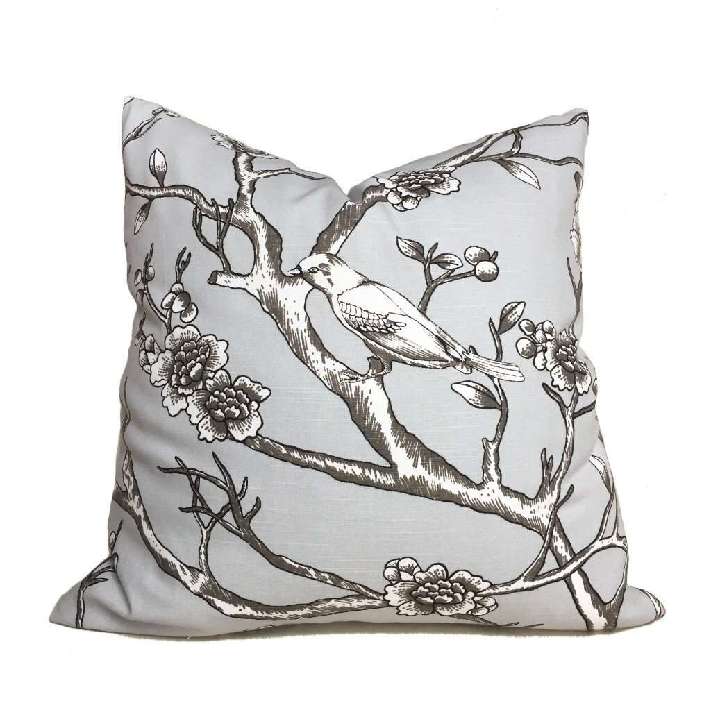 Robert Allen Dwell Studio Vintage Blossom Pillow Cover in Dove Gray Cushion Pillow Case Euro Sham 16x16 18x18 20x20 22x22 24x24 26x26 28x28 Lumbar Pillow 12x18 12x20 12x24 14x20 16x26 by Aloriam