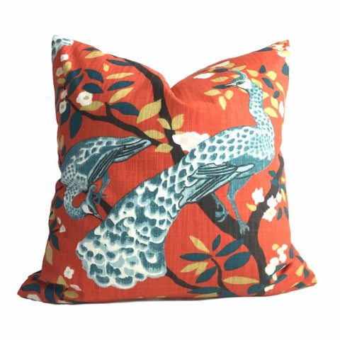Robert Allen Dwell Studo Plume Redux Persimmon Peacock Pillow Cover - Aloriam
