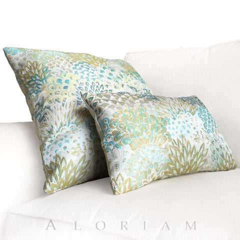 Robert Allen Feather Fans Floral Brocade Viridian Citrine Blue Turquoise Pillow Cushion Cover