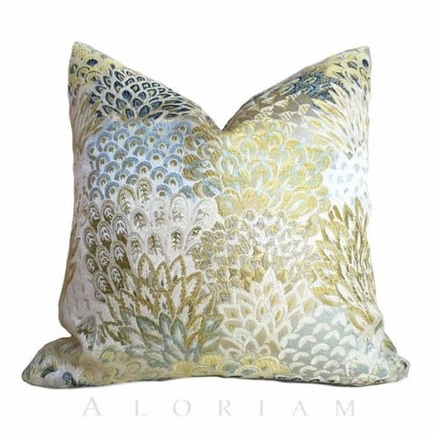 Robert Allen Feather Fans Zest Floral Brocade Blue Citrine Yellow Beige Pillow Cushion Cover - Aloriam