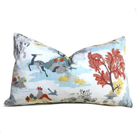 Robert Allen Forest Modern Toile Multicolor Pillow Cover Cushion Pillow Case Euro Sham 16x16 18x18 20x20 22x22 24x24 26x26 28x28 Lumbar Pillow 12x18 12x20 12x24 14x20 16x26 by Aloriam