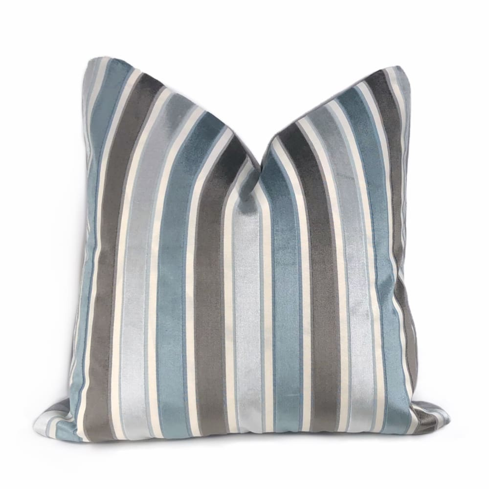 Robert Allen Gray & Mineral Blue Velvet Stripe Pillow Cover - Aloriam