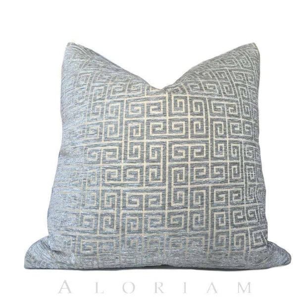 Robert Allen Greek Key Geometric Cloudy Blue Gray Velvet Pillow Cushion Cover
