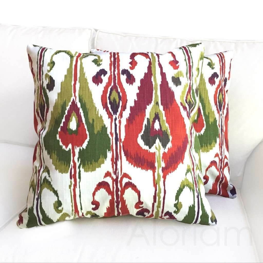 Robert Allen Ikat Bands Green Red Ivory Decorative Throw Pillow Cushion Cover Cushion Pillow Case Euro Sham 16x16 18x18 20x20 22x22 24x24 26x26 28x28 Lumbar Pillow 12x18 12x20 12x24 14x20 16x26 by Aloriam