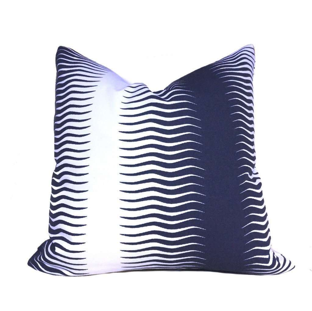 "Designer Indigo Blue White Feather Ikat Stripe Pillow Cover, Fits 12x18 12x24 14x20 16x26 16"" 18"" 20"" 22"" 24"" Cushion Inserts"