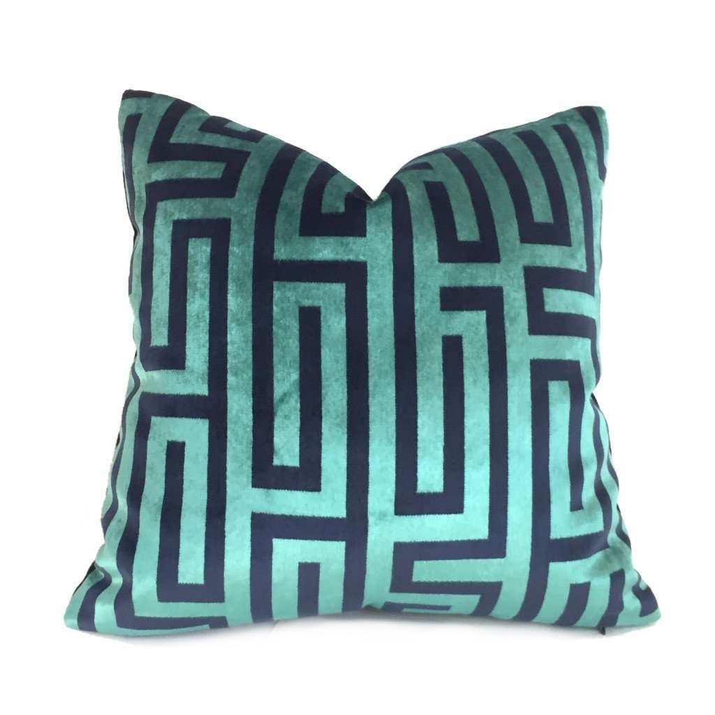 Robert Allen Larry Laslo Velvet Maze Aquamarine Greek Key Velvet Pillow Cover Cushion Pillow Case Euro Sham 16x16 18x18 20x20 22x22 24x24 26x26 28x28 Lumbar Pillow 12x18 12x20 12x24 14x20 16x26 by Aloriam