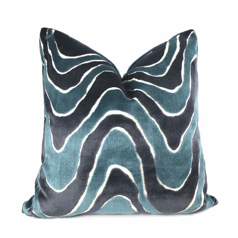 Robert Allen Lush Wave Batik Blue Teal Italian Cut Velvet Pillow Cover - Aloriam