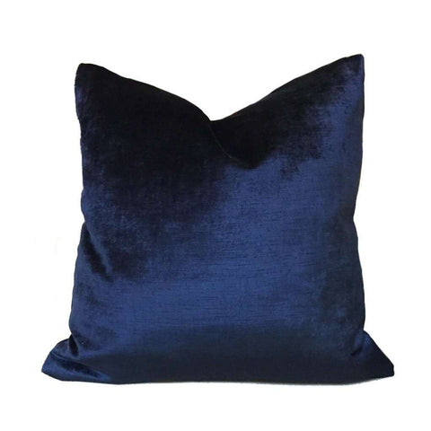 Robert Allen Luxury Savoy Midnight Dark Blue Velvet Pillow Cover Cushion Pillow Case Euro Sham 16x16 18x18 20x20 22x22 24x24 26x26 28x28 Lumbar Pillow 12x18 12x20 12x24 14x20 16x26 by Aloriam