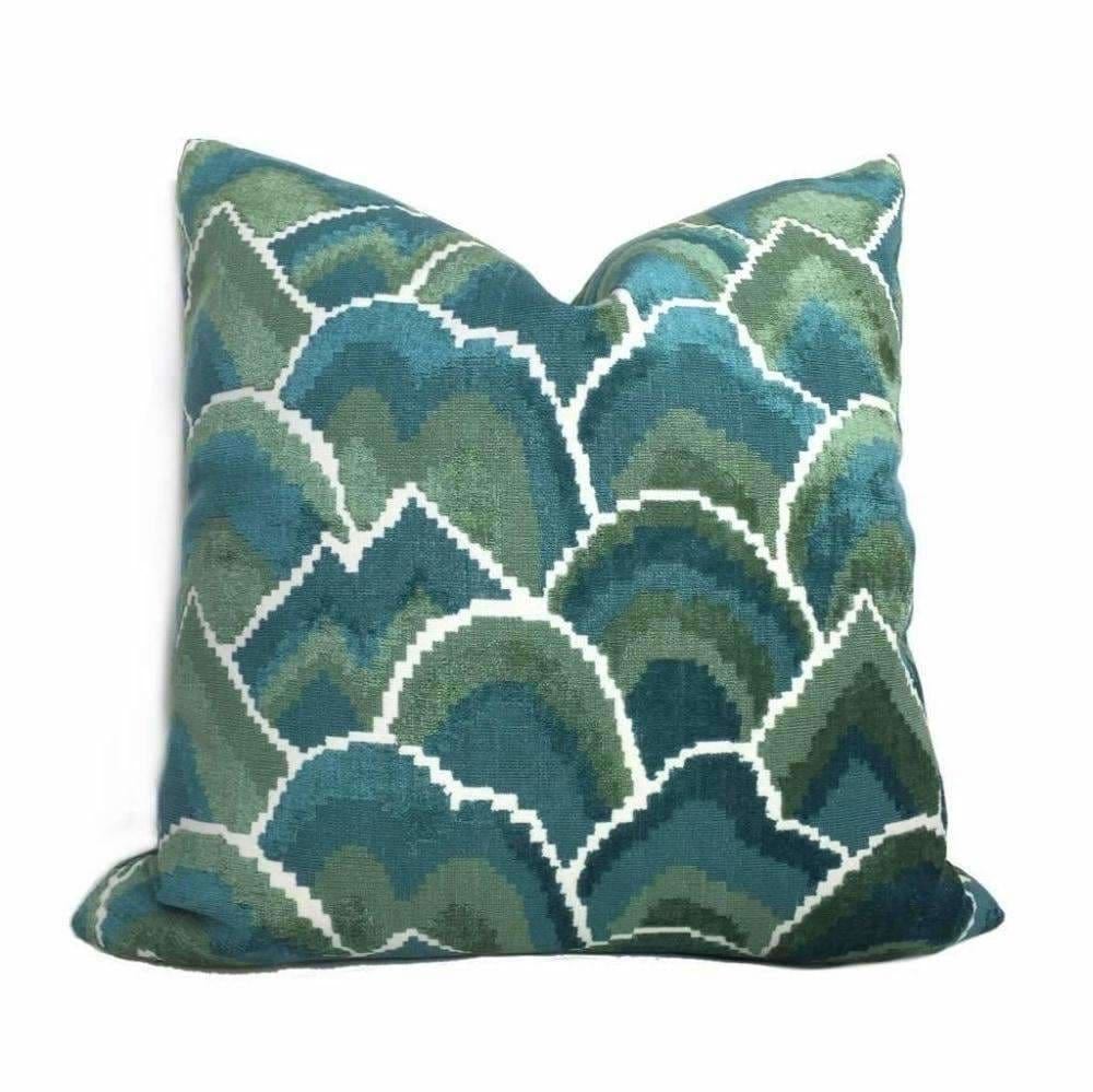 Robert Allen Madcap Cottage Cloud Club Marrakech Green Teal Velvet Pillow Cover - Aloriam