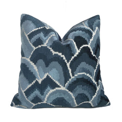 Robert Allen Madcap Cottage Cloud Club Ocean Blue Velvet Pillow Cover