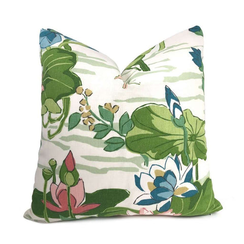 Robert Allen Madcap Cottage Lake Agawam Lotus Flower Pillow Cover Cushion Pillow Case Euro Sham 16x16 18x18 20x20 22x22 24x24 26x26 28x28 Lumbar Pillow 12x18 12x20 12x24 14x20 16x26 by Aloriam