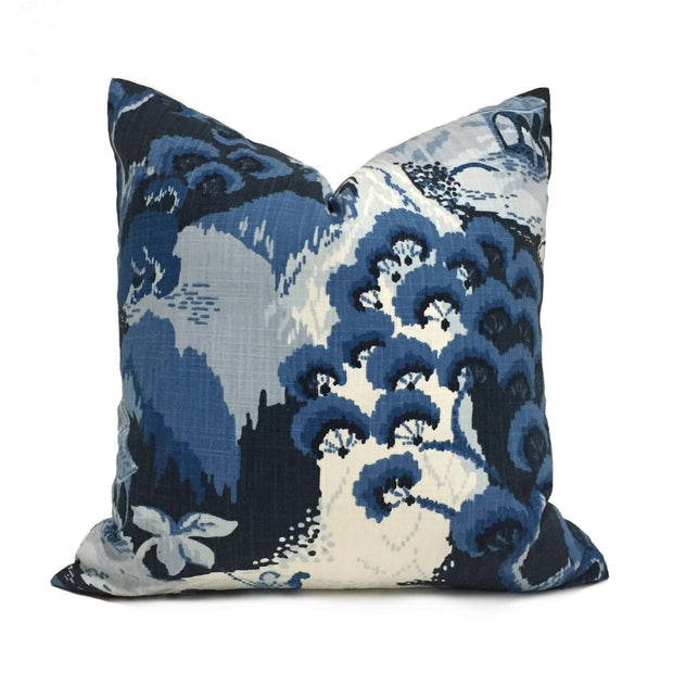 Robert Allen Madcap Cottage Road to Canton Blue Chinoiserie Asian Pillow Cover Cushion Pillow Case Euro Sham 16x16 18x18 20x20 22x22 24x24 26x26 28x28 Lumbar Pillow 12x18 12x20 12x24 14x20 16x26 by Aloriam