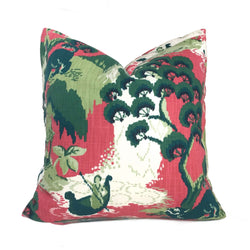 Robert Allen Madcap Cottage Road to Canton Pink Green Chinoiserie Asian Pillow Cover by Aloriam