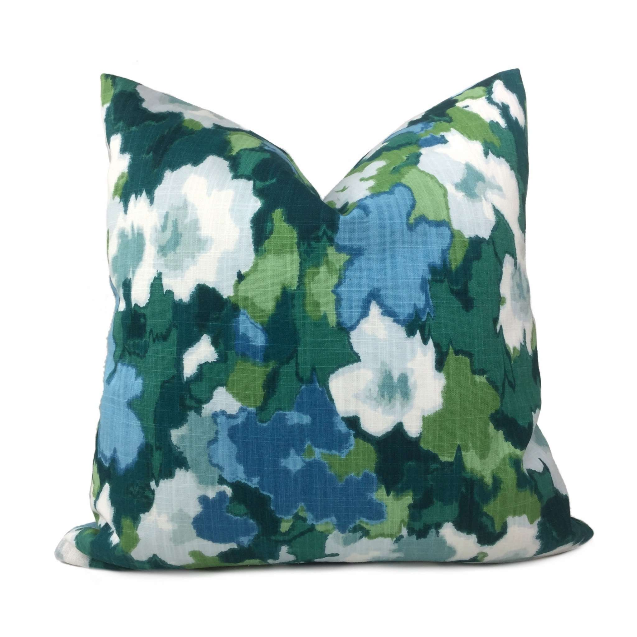 Robert Allen Madcap Cottage Rousham Romp Green Blue Impressionist Floral Pillow Cover Cushion Pillow Case Euro Sham 16x16 18x18 20x20 22x22 24x24 26x26 28x28 Lumbar Pillow 12x18 12x20 12x24 14x20 16x26 by Aloriam