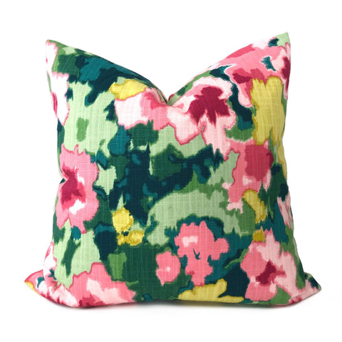Robert Allen Madcap Cottage Rousham Romp Pink Green Yellow Impressionist Floral Pillow Cover Cushion Pillow Case Euro Sham 16x16 18x18 20x20 22x22 24x24 26x26 28x28 Lumbar Pillow 12x18 12x20 12x24 14x20 16x26 by Aloriam