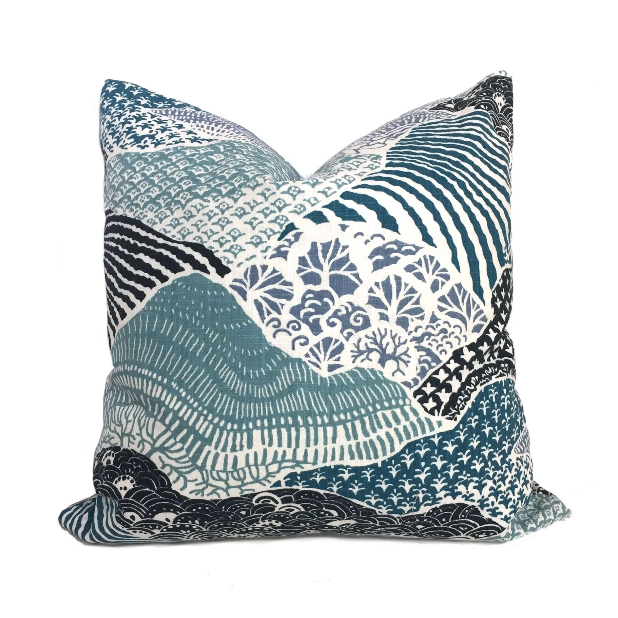 Robert Allen Madcap Cottage Windsor Park Blue Teal White Pillow Cover Cushion Pillow Case Euro Sham 16x16 18x18 20x20 22x22 24x24 26x26 28x28 Lumbar Pillow 12x18 12x20 12x24 14x20 16x26 by Aloriam