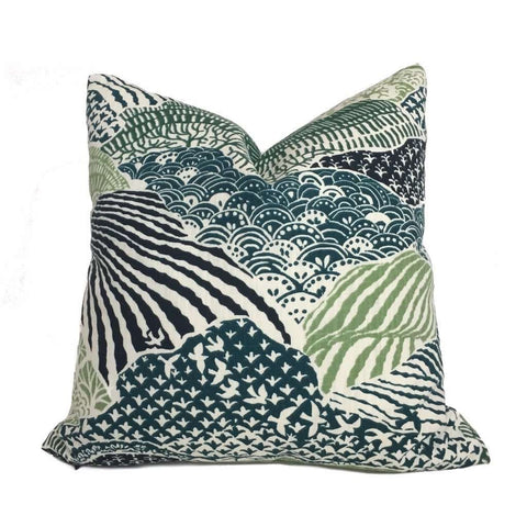 Robert Allen Madcap Cottage Windsor Park Palm Green White Pillow Cover by Aloriam