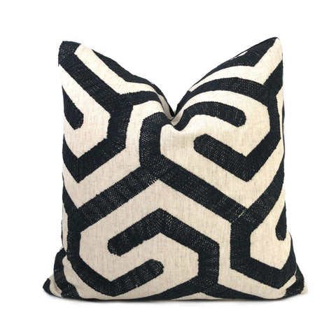 Robert Allen Maze for Days Black Embroidery Pillow Cover Cushion Pillow Case Euro Sham 16x16 18x18 20x20 22x22 24x24 26x26 28x28 Lumbar Pillow 12x18 12x20 12x24 14x20 16x26 by Aloriam