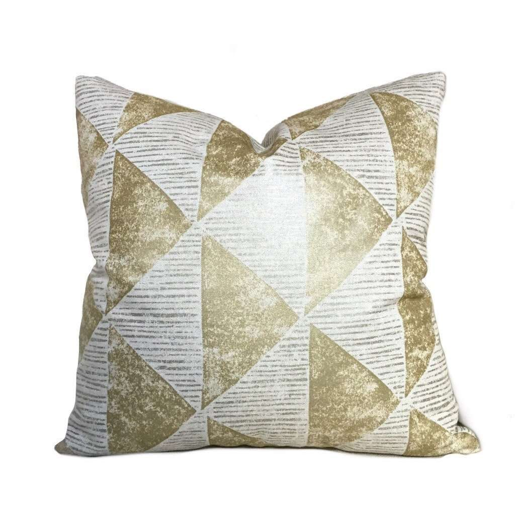 Robert Allen Metallic Gold Gilt Triangles Geometric Decorative Throw Pillow Cover Cushion Pillow Case Euro Sham 16x16 18x18 20x20 22x22 24x24 26x26 28x28 Lumbar Pillow 12x18 12x20 12x24 14x20 16x26 by Aloriam