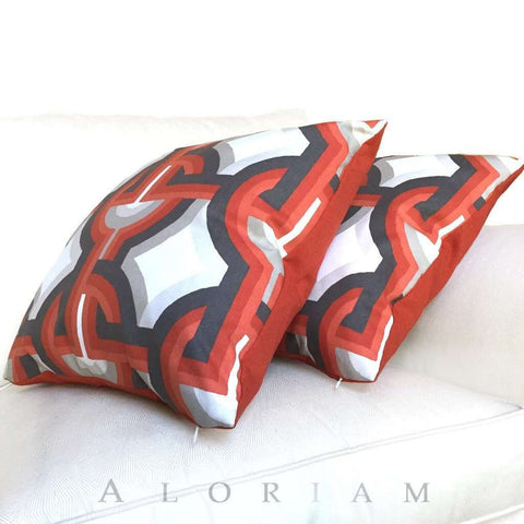 Robert Allen Modern Geometric Interlocked Circles Orange Gray White Pillow Cushion Cover