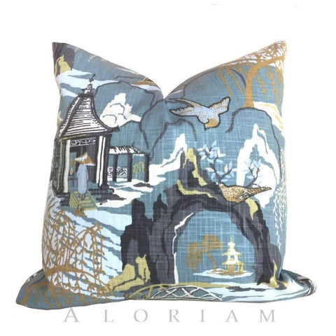 Robert Allen Neo Toile Chinoiserie Asian Scenic Landscape Oriental Decorative Throw Pillow