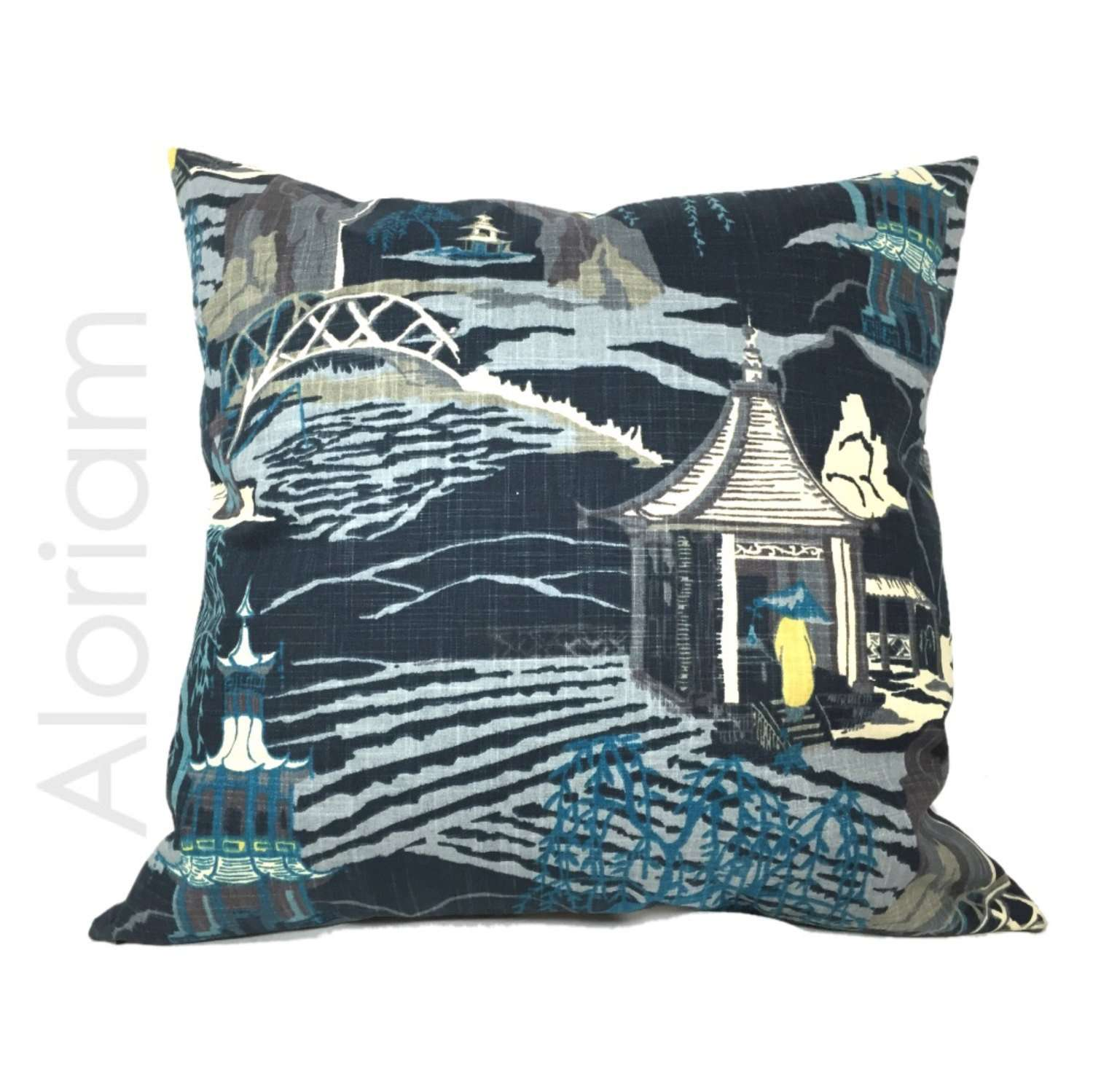 Robert Allen Neo Toile Chinoiserie Pillow Cover in Indigo Blue by Aloriam