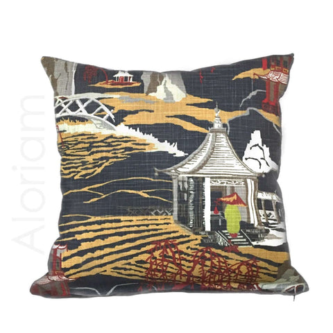 Robert Allen Neo Toile Chinoiserie Pillow in Red Lacquer by Aloriam