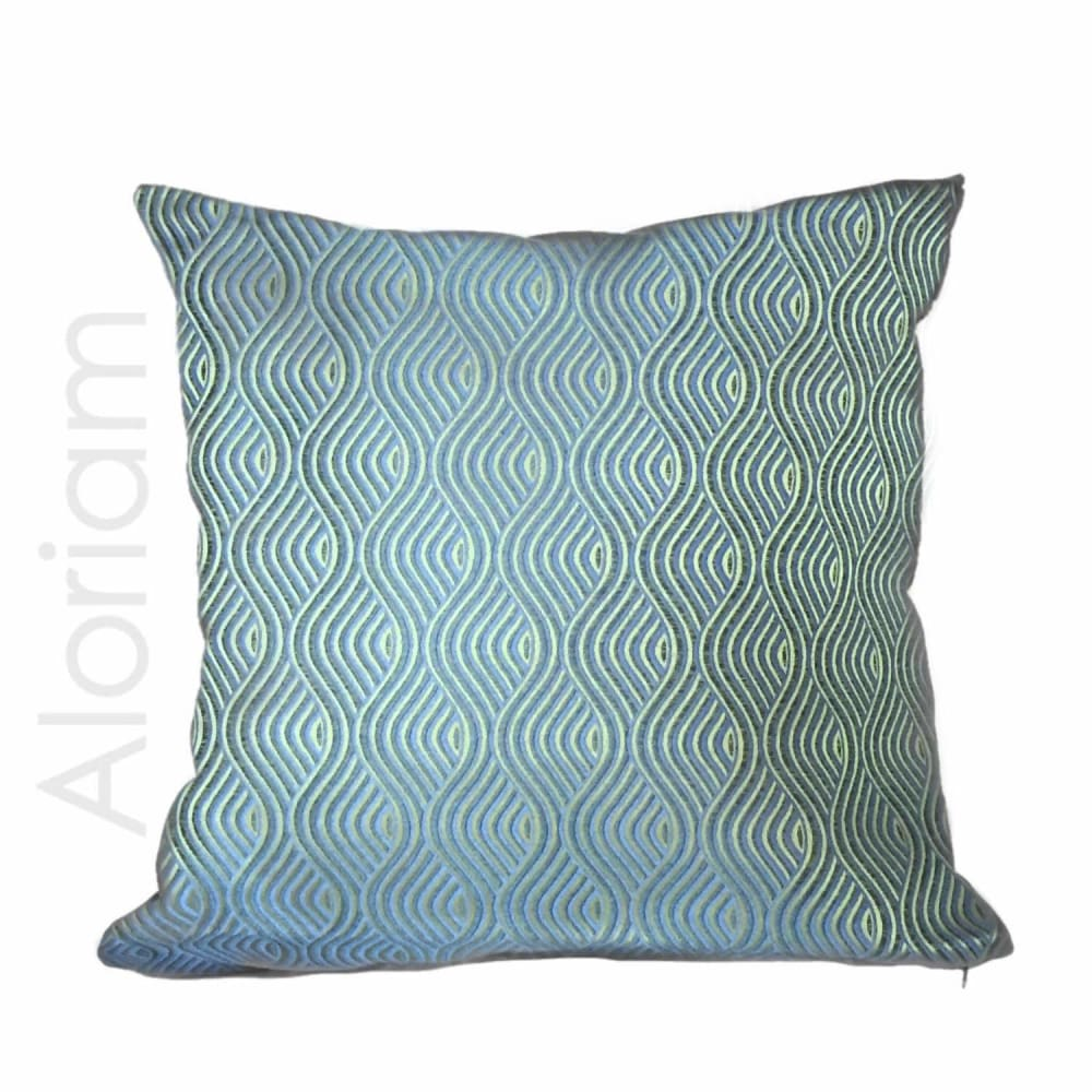 Robert Allen Nouveau Wave Blue Green Gold Pillow Cushion Cover - Aloriam