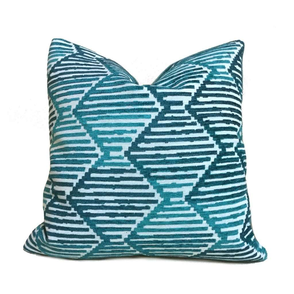 Robert Allen Ombre Stripe Diamonds Turquoise Teal Chenille Velvet Pillow Cover