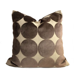 Robert Allen Plush Dotscape Velvet Dots Circles Major Brown Beige Pillow Cover 24x24