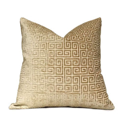 "Robert Allen Plush Greek Keys Gold Sand Beige Velvet Chenille Pillow Cover,  Fits 12x18 12x24 14x20 16x26 16"" 18"" 20"" 22"" 24"" Cushions"