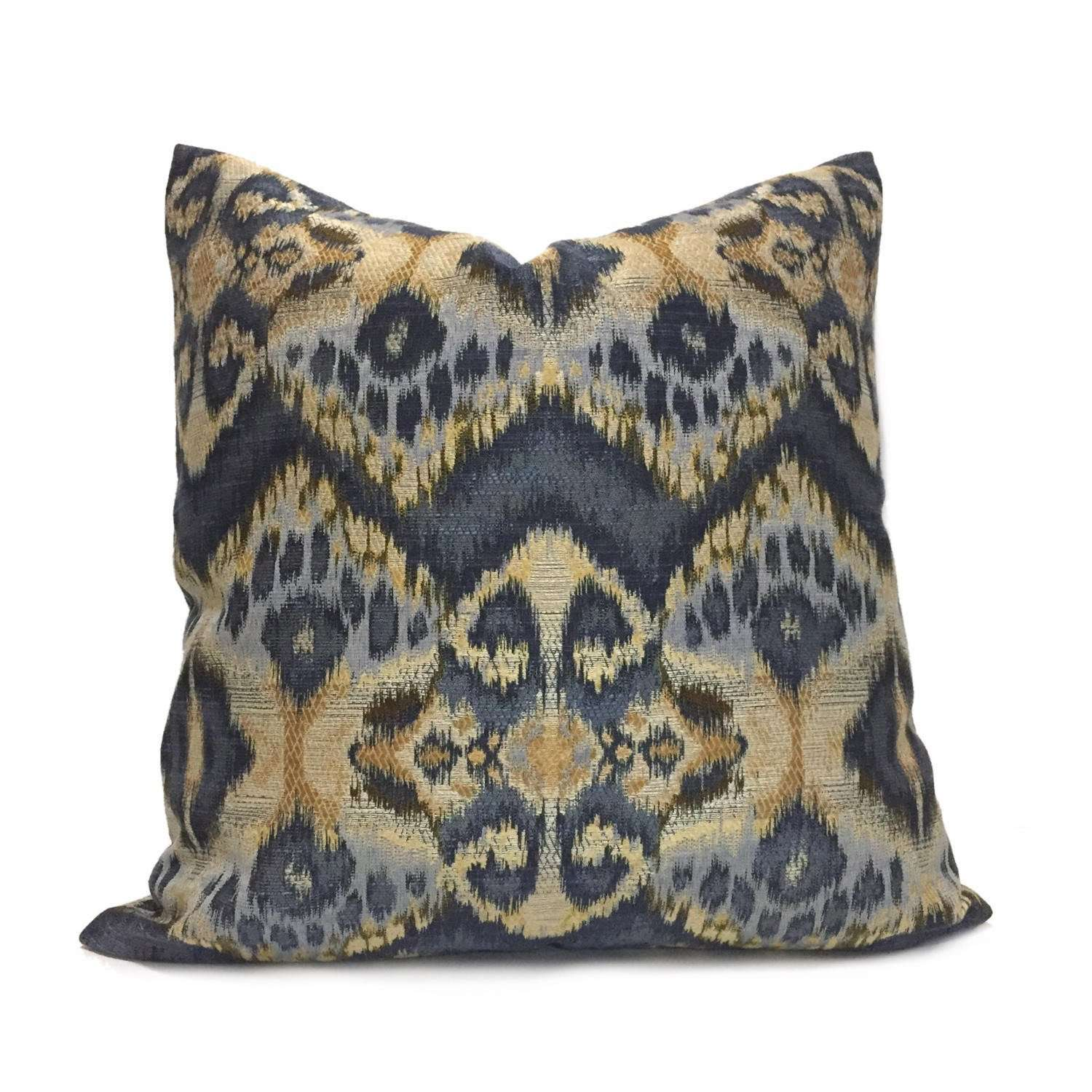 Robert Allen Rhythm Waves Blue Ikat Tribal Ethnic Pattern Pillow Cover by Aloriam
