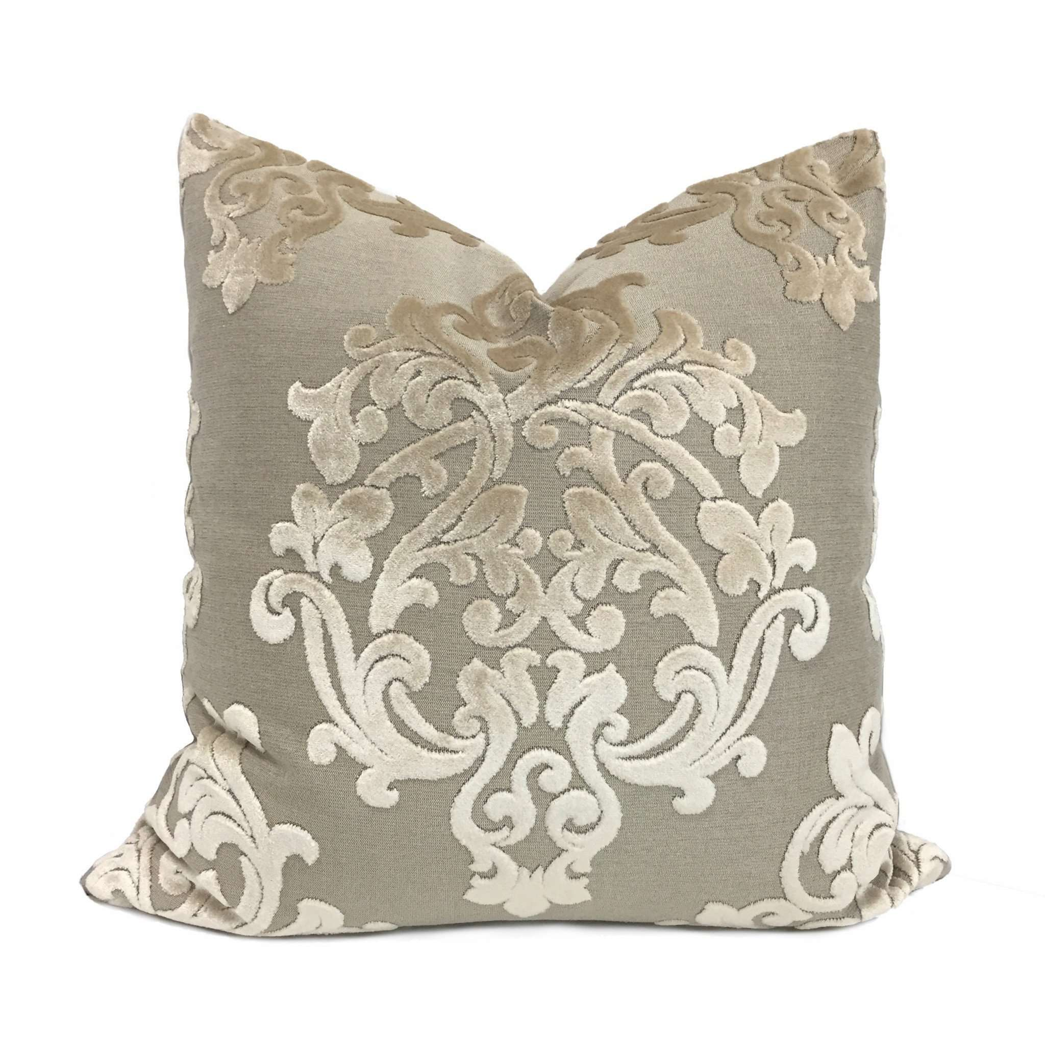 Robert Allen Royal Beauty Damask Medallion Beige Cream Cut Velvet Pillow Cover by Aloriam