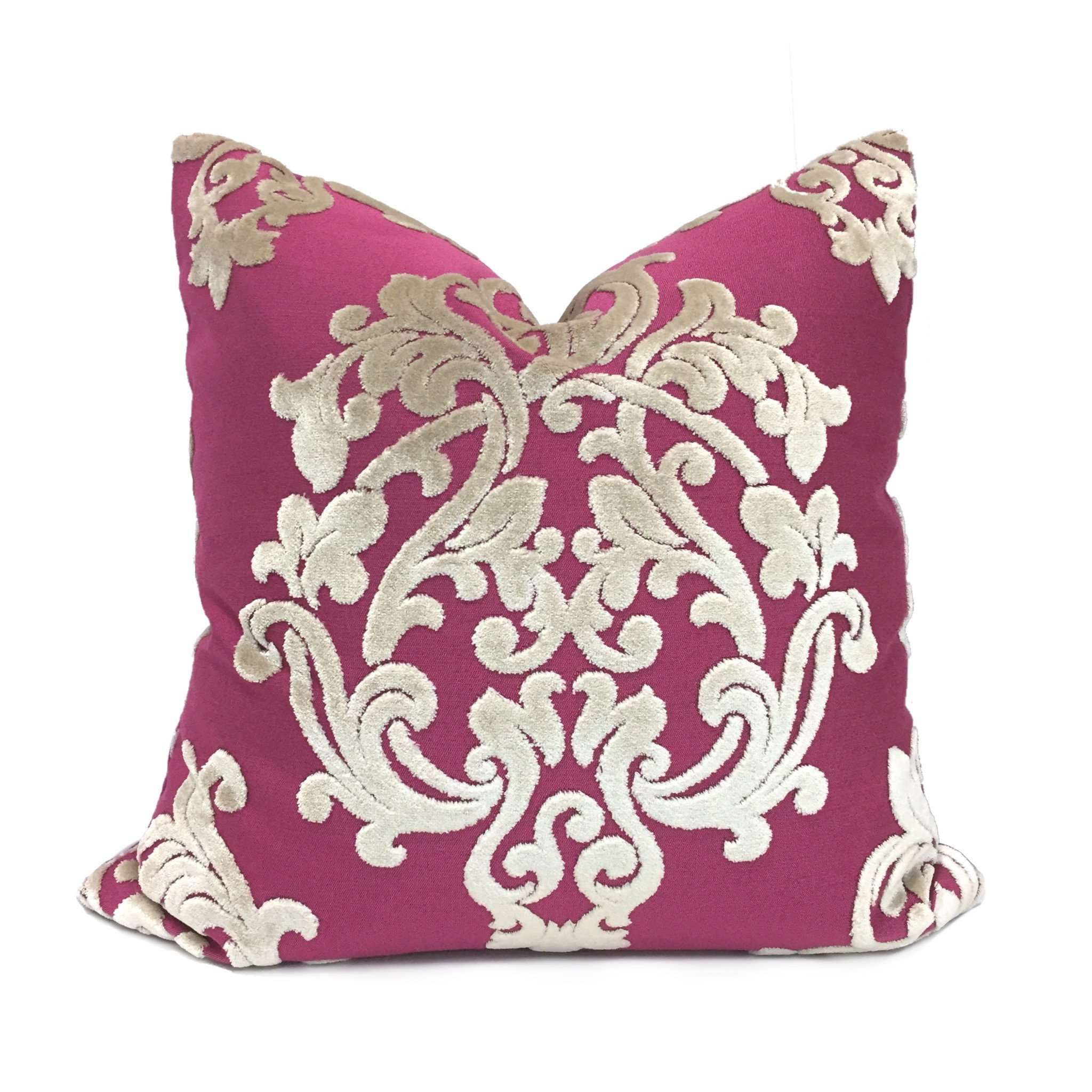 Robert Allen Royal Beauty Pink & Cream Damask Medallion Velvet Pillow Cover