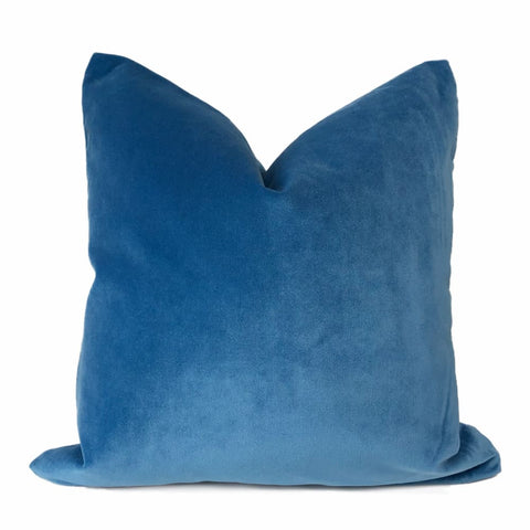 Robert Allen Royal Comfort Cerulean Blue Velvet Pillow Cover - Aloriam