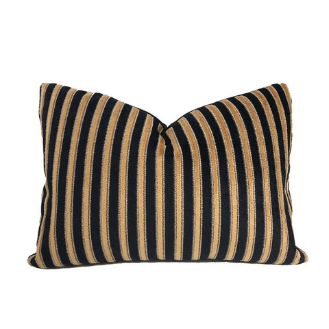 Robert Allen Simply Refined Nero Black & Cognac Italian Velvet Stripe Pillow Cover Cushion Pillow Case Euro Sham 16x16 18x18 20x20 22x22 24x24 26x26 28x28 Lumbar Pillow 12x18 12x20 12x24 14x20 16x26 by Aloriam