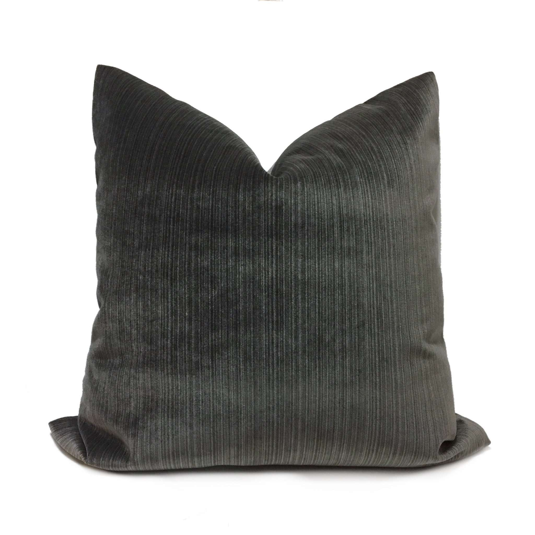 Robert Allen Slate Gray Plush Strie Velvet Pillow Cover