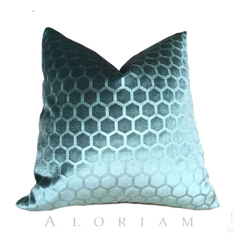 Robert Allen Soft Hex Cove teal geometric velvet pillow cover 18x18