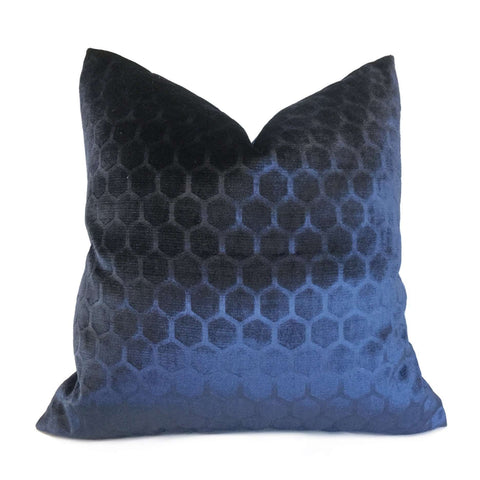 Robert Allen Soft Hex Indigo Blue Geometric Hexagon Velvet Pillow Cover Cushion Pillow Case Euro Sham 16x16 18x18 20x20 22x22 24x24 26x26 28x28 Lumbar Pillow 12x18 12x20 12x24 14x20 16x26 by Aloriam