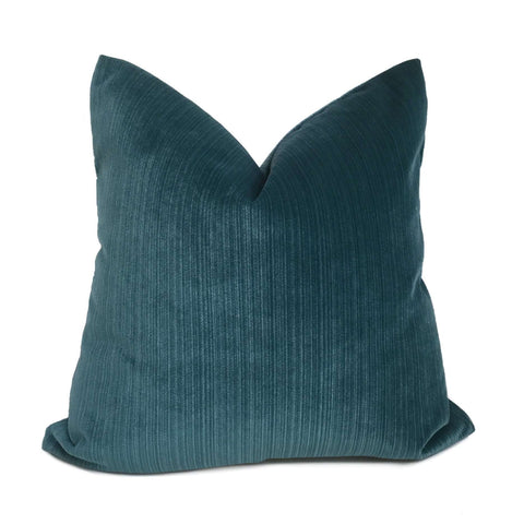 Robert Allen Plush Strie Teal Velvet Pillow