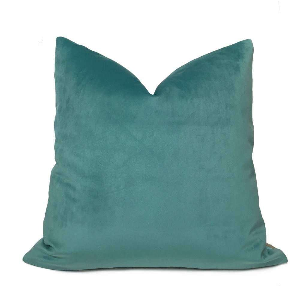 Robert Allen Touche Solid Seafoam Green Velvet Pillow Cover Cushion Pillow Case Euro Sham 16x16 18x18 20x20 22x22 24x24 26x26 28x28 Lumbar Pillow 12x18 12x20 12x24 14x20 16x26 by Aloriam